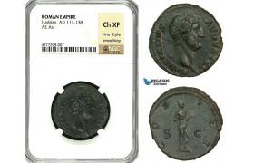 ZC55, Roman Empire, Hadrian (117-138 AD) Æ As (11.19g) Rome, 125-128 AD, Salus, NGC Ch XF, Fine Style