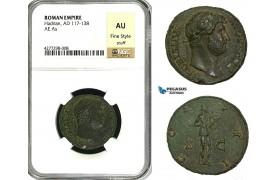 ZC56, Roman Empire, Hadrian (117-138 AD) Æ As (12.14g) Rome, 125-128 AD, NGC AU, Fine Style