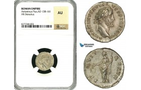 ZC58, Roman Empire, Antoninus Pius (138-161 AD), AR Denarius (2.48g) Rome, Aequitas, NGC AU