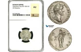 ZC59, Roman Empire, Antoninus Pius (138-161 AD), AR Denarius (3.41g) Rome, 151-152, Vesta, NGC AU