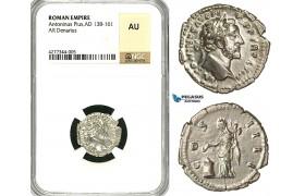 ZC60, Roman Empire, Antoninus Pius (138-161 AD), AR Denarius (2.58g) Rome, Vesta/Altar, NGC AU