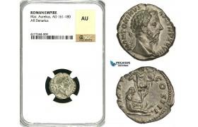 ZC64, Roman Empire, Marcus Aurelius (161-180 AD), AR Denarius (3.22g) Rome, 173-174 AD, Captive, NGC AU