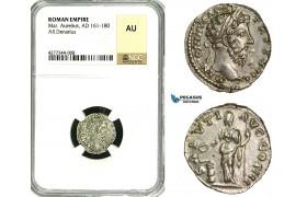 ZC65, Roman Empire, Marcus Aurelius (161-180 AD), AR Denarius (3.04g) Rome, 162-163 AD, Salus, NGC AU