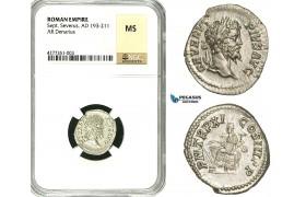 ZC75, Roman Empire, Septimius Severus (193-211 AD), AR Denarius (3.44g) Rome, 203 AD, Fortuna, NGC MS