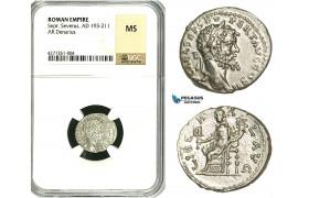 ZC76, Roman Empire, Septimius Severus (193-211 AD), AR Denarius (3.35g) Liberalitas, NGC MS