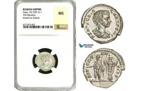 ZC86, Roman Empire, Geta (198-209 AD), AR Denarius (3.00g) Rome, Trophy, NGC MS