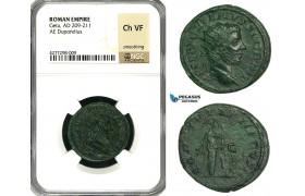 ZC87, Roman Empire, Geta (209-212 AD) Æ Dupondius (13.54g) Rome, 211 AD, Pietas, NGC Ch VF