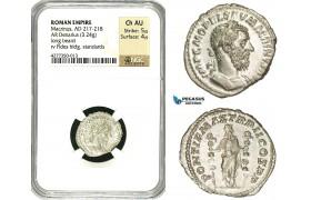 ZC88, Roman Empire, Macrinus (217-218AD), AR Denarius (3.24g) Rome, 218 AD, Fides, NGC Ch AU