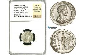ZC89, Roman Empire, Diadumenian as Caesar (217-218 AD), AR Denarius (4.10g) Rome, NGC MS★, Fine Style