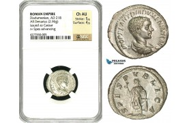 ZC90, Roman Empire, Diadumenian as Caesar (217-218 AD), AR Denarius (2.96g) Rome, 218 AD, (Under Macrinus) Spes, NGC Ch AU