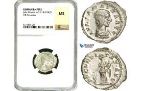 ZC93, Roman Empire, Julia Maesa Augusta (218-224 AD), AR Denarius (3.56g) Rome, Fecunditas, NGC MS