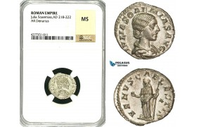 ZC97, Roman Empire, Julia Soemias, mother of Elagabalus (218-224 AD), AR Denarius (3.37g) Rome, Venus, NGC MS