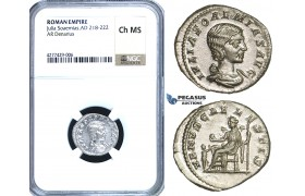 ZC98, Roman Empire, Julia Soemias, Mother of Elagabalus (218-224 AD), AR Denarius,Rome, 220-222 AD, Venus, NGC Ch MS