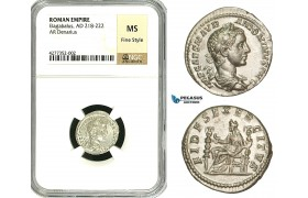ZD01, Roman Empire, Elagabalus (218-222 AD), AR Denarius (3.91g) Rome, 218-219 AD, Fides, NGC MS, Fine Style