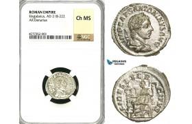 ZD02, Roman Empire, Elagabalus (218-222 AD), AR Denarius (3.28g) Rome, 218-219 AD, Fides, NGC Ch MS