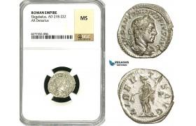 ZD04, Roman Empire, Elagabalus (218-222 AD), AR Denarius (3.13g) Rome, 220-221 AD, Libertas, NGC MS