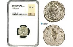 ZD05, Roman Empire, Elagabalus (218-222 AD), AR Denarius (3.11g) Rome, 220-221 AD, Libertas, NGC Ch MS