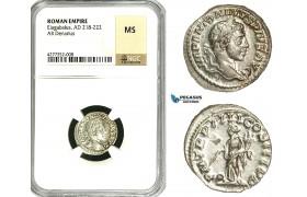 ZD06, Roman Empire, Elagabalus (218-222 AD), AR Denarius (2.22g) Rome, 220-222 AD, Providentia, NGC MS