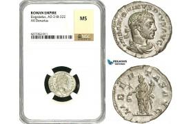 ZD09, Roman Empire, Elagabalus (218-222 AD), AR Denarius (3.03g) Rome, 220-221 AD, Libertas, NGC MS