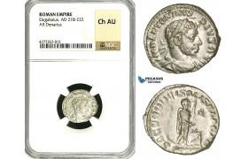 ZD10, Roman Empire, Elagabalus (218-222 AD), AR Denarius (3.41g) Rome, 218-222 AD, Altar, NGC Ch AU