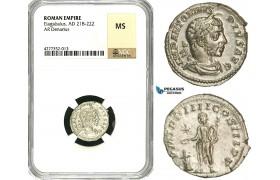 ZD11, Roman Empire, Elagabalus (218-222 AD), AR Denarius (2.86g) Rome, 220-221 AD, Altar, NGC MS