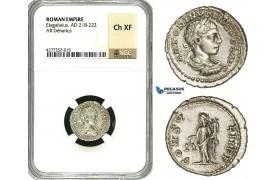 ZD13, Roman Empire, Elagabalus (218-222 AD), AR Denarius (3.05g) Antioch, 218-222 AD, Aequitas, NGC Ch XF