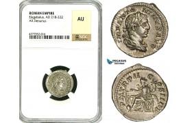 ZD14, Roman Empire, Elagabalus (218-222 AD), AR Denarius (2.85g) Rome, 218-219 AD, Fortuna, NGC AU