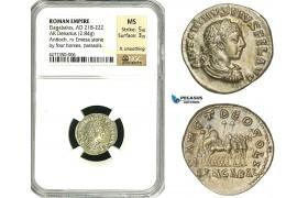 ZD16, Roman Empire, Elagabalus (218-222 AD), AR Denarius (2.85g) Antioch, 218-219 AD, Quadriga, Rare! NGC MS