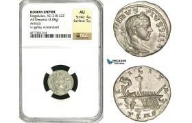 ZD17, Roman Empire, Elagabalus (218-222 AD), AR Denarius (3.09g) Antioch, 218-219 AD, Galley, NGC AU