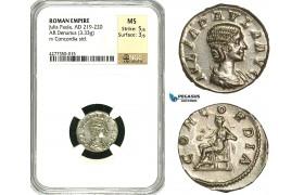 ZD18, Roman Empire, Julia Paula Augusta (219-220), AR Denarius (3.33g) Rome, Concordia, NGC MS