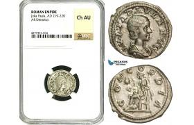 ZD19, Roman Empire, Julia Paula Augusta (219-220), AR Denarius (2.54g) Rome, Concordia, NGC Ch AU