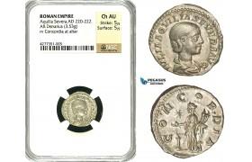ZD20, Roman Empire, Aquilia Severa, second wife of Elagabalus (AD 220-222), AR Denarius (3.53g)  Rome, 221-222 AD, Concordia, NGC Ch AU