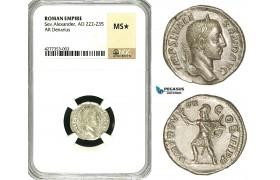 ZD22, Roman Empire, Severus Alexander (222-235 AD), AR Denarius (2.79g) Rome, 229 AD, Mars, NGC MS★