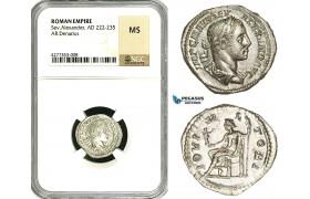 ZD27, Roman Empire, Severus Alexander (222-235 AD), AR Denarius (3.29g) Rome, 222-228 AD, Jupiter, NGC MS
