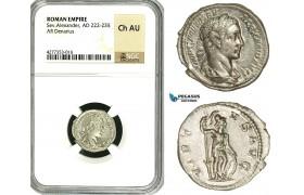 ZD35, Roman Empire, Severus Alexander (222-235 AD), AR Denarius (3.40g) Rome, Virtus, NGC Ch AU