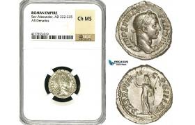 ZD38, Roman Empire, Severus Alexander (222-235 AD), AR Denarius (3.46g) Rome, 230 AD, Sol, NGC Ch MS