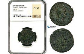 ZD41, Roman Empire, Philip II (247-249 AD) Æ As (11.50g) Rome, 246 AD, NGC Ch VF