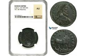 "ZD48, Roman Empire, Julian II. ""The Apostate"" (360-363 AD) Æ1, BL Maiorina (8.15g) Arles, 362-363 AD, Bull, NGC AU"