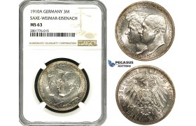 ZD50, Germany, Saxe-Weimar-Eisenach, 3 Mark 1910-A, Berlin, Silver, NGC MS63