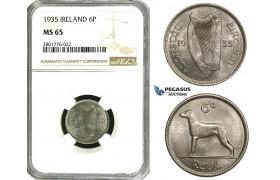 ZD57, Ireland, Free State, 6 Pence (Sixpence) 1935, NGC MS65