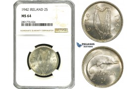 ZD59, Ireland, Free State, Florin - 2 Shillings 1942, Silver, NGC MS64