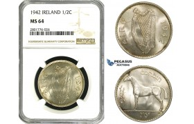 ZD61, Ireland, Free State, 1/2 Crown 1942, Silver, NGC MS64