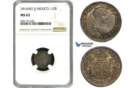 ZD62, Mexico, Ferdinand VII, 1/2 Real 1816-Mo JJ, Mexico City, Silver, NGC MS63