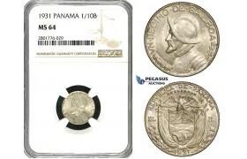 ZD63, Panama, 1/10 Balboa 1931, Philadelphia, Silver, NGC MS64