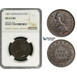 ZD66, Sarawak, C. Brooke Rajah, 1 Cent 1887, NGC MS63BN, Rare grade!