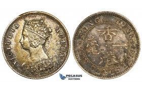ZD73, Hong Kong, Victoria, 10 Cents 1866, Royal mint, Silver, XF-AU with strong toning!