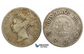 ZD74, Hong Kong, Victoria, 50 Cents 1891, Silver, Spotted toning, aVF