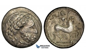 "ZD80, Eastern Celts, Pannonia, ""Puppenreiter"" Type, AR Tetradrachm (13.25g) 3rd-2th Cent. BC, Lovely patina! About EF"