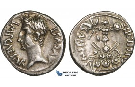 ZD82, Roman Empire, Augustus (27 BC - 14 AD) AR Denarius (3.94g) Emerita, 25-23 BC, Trophy of Celtiberian arms, Patina, VF