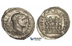ZD84, Roman Empire, Diocletian (284-305 AD) AR Argenteus (3.01g) Rome, Campgate, VF-EF